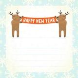 2 оленя шаржа держа счастливое знамя Нового Года Стоковое Изображение RF