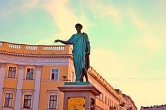 Одесса, дом, герцог de Richelieu, памятник стоковое фото rf