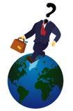 Бизнесмен глобуса идя рысью Стоковые Фото