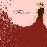 одетьйте красную женщину красные розы Красивый, грациозно иллюстрация вектора