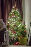Одетьнная рождественская елка Стоковая Фотография