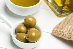 Оливка и оливковое масло Стоковая Фотография RF