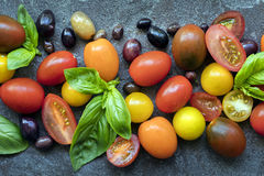 Оливки и базилик томатов предпосылки еды Стоковое Фото