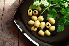 Оливки на плите Стоковое Изображение RF