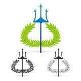 Оливковая ветка с символом трёхзубца греческого poseidon бога Стоковое Изображение RF