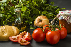 Оливковое масло и пищевые ингредиенты Стоковые Фото