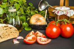 Оливковое масло и пищевые ингредиенты Стоковое Фото
