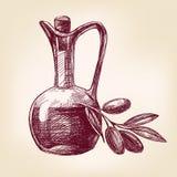 Оливковое масло с вектором оливок нарисованным рукой Стоковое Изображение