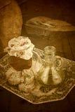 Оливковое масло, хлеб и законсервированные томаты Стоковые Изображения RF