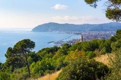 Оливковые дерева и морские сосны на итальянской береговой линии, Лигурии Стоковые Фотографии RF
