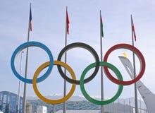 Олимпийские кольца в олимпийском парке Стоковое Изображение