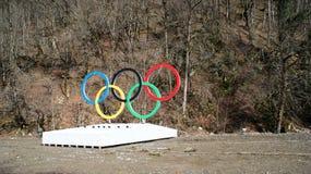 Олимпийские кольца в Сочи, России Стоковое Изображение RF