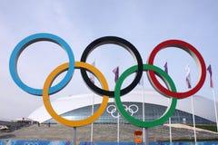 Олимпийские кольца перед куполом Bolshoy льда Стоковые Фотографии RF