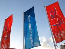Олимпийский волейбол флагов Стоковая Фотография