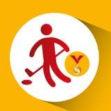 Олимпийский значок гольфа золотой медали иллюстрация вектора