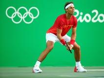 Олимпийский чемпион Рафаэль Nadal Испании в действии во время людей определяет четвертьфинал Рио 2016 Олимпийских Игр Стоковые Фотографии RF