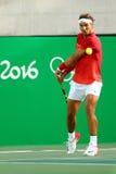 Олимпийский чемпион Рафаэль Nadal Испании в действии во время людей определяет четвертьфинал Рио 2016 Олимпийских Игр Стоковое Фото