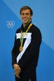 Олимпийский чемпион Gregorio Paltrinieri Италии во время представления медали на ` s людей фристайл 1500 метров Рио 2016 олимпийс Стоковое Изображение
