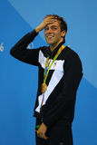 Олимпийский чемпион Gregorio Paltrinieri Италии во время представления медали на ` s людей фристайл 1500 метров Рио 2016 олимпийс Стоковое фото RF
