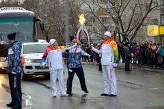 Олимпийское пламя в Томске Стоковая Фотография RF