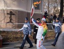 Олимпийское реле факела. Стоковая Фотография RF