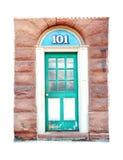 Одиночная дверь бирюзы граничила архитектуру иллюстрации фотоснимка художническую Стоковая Фотография