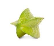 Одиночная зеленая карамбола Декоративная и красивая карамбола на белой предпосылке Fruity ингридиенты для стоковая фотография