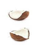 Одиночная часть изолированного кокоса Стоковые Фото