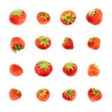 Одиночные красные изолированные клубники Стоковое Изображение