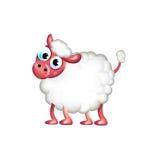 Одиночные овцы изолированные на белизне Иллюстрация штока