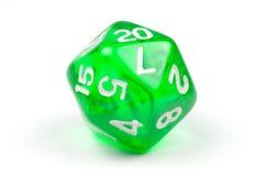 Одиночный зеленый цвет, просвечивающие встали на сторону 20, который умирает Стоковые Изображения RF