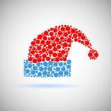 Одиночный значок шляпы Санта Клауса красный сделанный кругов Стоковые Изображения