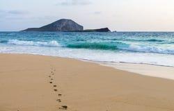 Следы ноги к океану Стоковая Фотография RF