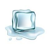 Одиночный куб льда изолированный на белизне Иллюстрация штока