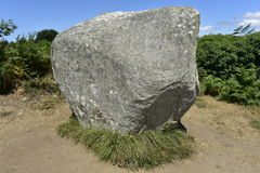 Одиночный мегалит на поле камня Carnac, Бретань, Франция Стоковые Фотографии RF