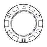 Одиночный обломок казино изолированный на белой предпосылке Линия искусство конструкция самомоднейшая Стоковые Изображения