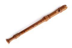 Одиночный рекордер, музыкальный инструмент древесины, изолированный на белизне стоковая фотография rf