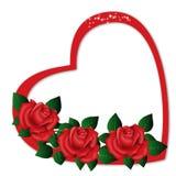 Одиночный Харт с красными розами Стоковые Фото