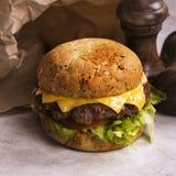 Одиночный cheeseburger говядины Стоковые Фотографии RF