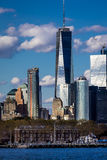 Один всемирный торговый центр, 'башня свободы', Нью-Йорк взгляд Нью-Йорка - портового района Стоковые Изображения RF