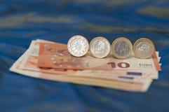 Один грек, одно португальское и одно испанское евро Стоковая Фотография