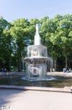 Один из римских фонтанов в парке над зелеными деревьями и голубым небом, Peterhof, Санкт-Петербург стоковое фото