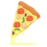 Один кусок пиццы иллюстрация вектора