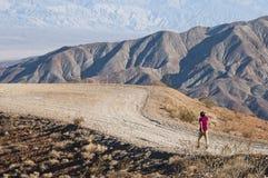 Один молодой человек идет самостоятельно в пустыню через тропу стоковое изображение rf