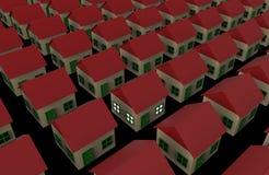 Один дом стоит вне среди много Бесплатная Иллюстрация
