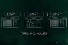 Один открытый магазин окруженный другими уже закрыл Стоковые Фотографии RF