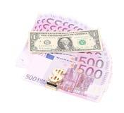 Один доллар и 5 примечаний евро Стоковое Изображение