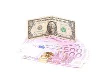 Один доллар и 5 примечаний евро Стоковое Изображение RF