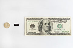 Один русский рубль приравнивает 100 американских долларов Стоковая Фотография