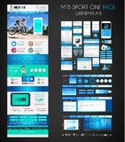 Один шаблон дизайна вебсайта плоский UI СПОРТА страницы Стоковое Фото